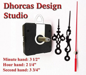 Dhorcas (#020) 0.5cm Threaded Motor and Black 8.9cm Hands and hanger, Quartz Clock Movement Kit for Replacement