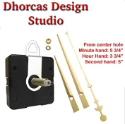 Dhorcas (#02) 0.5cm Threaded Motor and Gold 15cm Hands and Hanger, Quartz Clock Movement Kit for Replacement