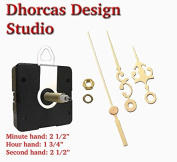 Dhorcas (#10) 0.5cm Threaded Motor and Gold 6.4cm Hands and Hanger, Quartz Clock Movement Kit for Replacement