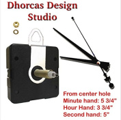 Dhorcas (#03) 0.5cm Threaded Motor and Black 15cm Hands and Hanger, Quartz Clock Movement Kit for Replacement