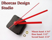 Dhorcas (#05) 1.3cm Threaded Motor and Red 13cm Hands, Quartz Clock Movement Kit for Replacement