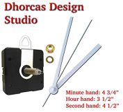 Dhorcas (#04) 0.5cm Threaded Motor and White 13cm Hands and Hanger, Quartz Clock Movement Kit for Replacement