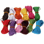 Tinksky 12 Colours 10M 1mm Waxed Cotton Cords Strings Ropes for DIY Necklace Bracelet Craft Making