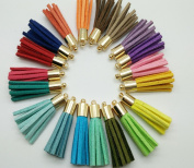 Gold Copper caps---New 30pcs 35mm Leather Tassel Suede Tassel DIY Jewellery Bracelet Accessories