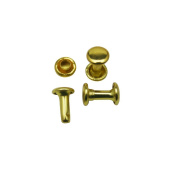 Amanteao Golden Double Cap Rivets Plane Cap 6mm and Post 8mm Pack of 200 Sets