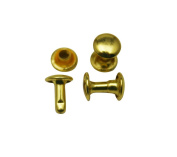 Amanteao Golden Double Cap Rivets Plane Cap 7mm and Post 8mm Pack of 200 Sets