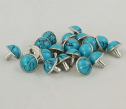 100PCS Leathercraft Decorations Turquoise Rivet Stud Buttons Domed Rivets,Blue, Dia.12mm