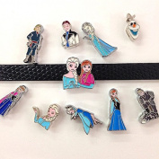Set of 10 Pc Mixed Disney Frozen Anna Elsa Slide Charm Fits 8mm Slide Wristband for Jewellery /Crafting