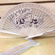 Chinese Traditional Art Carved Panda Sandalwood Wooden Hand Fan with Gift Bag