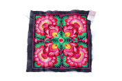 Black Flower Textiles Hmong Fasionable Style Embroidered From Thailand