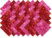 Red Printed Batik Collection 40 Precut 13cm Quilting Fabric Squares
