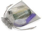 10 Large Organza Bags 25cm X 30cm Silver Sheer Fabric Gift Pouch