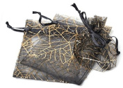 50 pcs Gift Bag Pouches Spider Web Transparent Black & Gold Drawstring, Wedding, Gothic, Halloween Gift