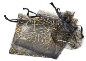 50 pcs Gift Bag Pouches Spider Web Transparent Black & Gold Drawstring, Wedding, Gothic, Halloween Gift