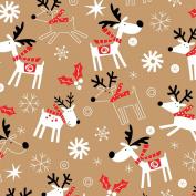Reindeer Hop Kraft Gift Wrap Flat 60cm X 1.8m