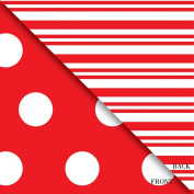 Reversible Red with White Dots and Stripes Wrapping Paper Roll 60cm X 4.6m
