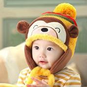 Baby Winter Warm Hat Children Cap Earflaps Thickening Cartoon Monkey Knitted Hat