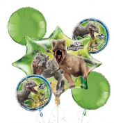Jurassic World Balloon Bouquet - Dinosaur Balloons - 5 Count