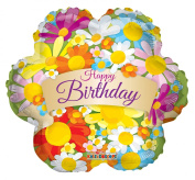 Birthday Flowers 46cm Mylar Balloon Bulk