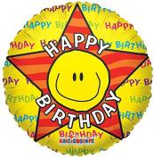 Birthday Smiley Face 46cm Mylar Balloon Bulk