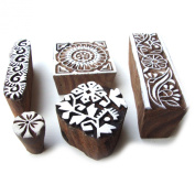 Multi Floral Designs Hand Carved Wooden Bock Printing Indian Tags