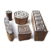 Geometric, Floral Hand Carved Wooden Tags for Block Printing