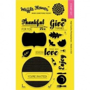Waffle Flower Crafts Clear Stamps 10cm x 15cm -Holiday Labels-Give Thanks