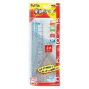 The Kokuyo ruler set Manabi be and straight ruler triangle ruler with protractor set a special case GY-GBA501