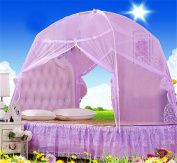 CdyBox Foldable Baby Adult Double Zipper Door Sleeping Yurt Mosquito Net Bed Canopy with Stand