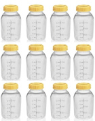 NEW! 12 MEDELA BREASTMILK COLLECTION STORAGE FEEDING BOTTLE SET w/lid 5oz /150ml