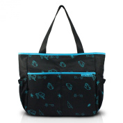Jacki Design Mama & Me Collection Animal Print Nappy Bag, Black Colour and Blue Details