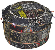 Indian Vintage Patchwork Ottoman Pouffe , Indian Living Room Pouffe, Foot Stool, Round Ottoman Cover Pouffe, Floor Pillow Ottoman Poof,traditional Indian Home Decor Cotton Cushion Ottoman Cover