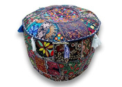 Round Patchwork Embroidered Multi Ottoman Pouffe Bohemian Indian Decorative, Size 13 X 41cm X 41cm