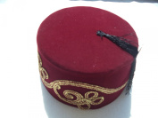 Embroidered Fez Fes Authentic Turkish Ottoman Hat Tarboosh Exotic Ottoman Wear -- Burgundy
