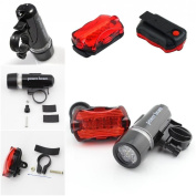 1 Set Excellent 5 LED Bike Light Headlight Waterproof Safety Torch Front 2 Modes Black and Rear 7 Modes Red