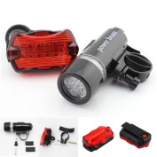 1 Set Perfectly 5 LED Bike Light Headlight Bicycle Lamp Safety Torch Front 2 Modes Black and Rear 7 Modes Red