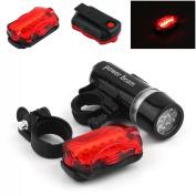 1 Set Powerful 5 LED Bike Light Flashlight Headlight Waterproof Front 2 Modes Black and Rear 7 Modes Red