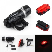 1 Set Splendid 5 LED Bike Light Bicycle Lamp Waterproof Headlight Front 2 Modes Black and Rear 7 Modes Red