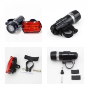 1 Set Mighty 5 LED Bike Light Safety Torch Flashlight Bicycle Lamp Front 2 Modes Black and Rear 7 Modes Red