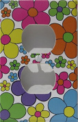 Daisy Pop Flower Outlet Switch Plate Covers / Nursery Wall Decor in Hot Pink, Purple, Yellow, Blue, Green and Orange