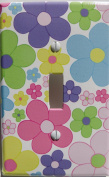 Pastel Daisy Flower Light Switch Plate Covers / Single Toggle / Nursery Wall Decor in Light Pink, Purple, Yellow, Blue, Green and Orange