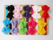 happu-store Cute 10pcs Baby Girl Lace Flower Bowknot Headband Hair Band Xmas Gift