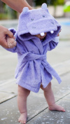 Baby-Steps, Purple Hippo Hooded Bathrobe and Towel, 0-9 Months, Bath Robe Baby Shower. Gift Box with Purchase!