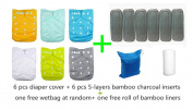 Baby 6pcs Pack Washable Reusable Adjustable Pocket One Size Cloth Nappies With 6 pcs Five Layers Bamboo Charcoal Inserts Total