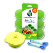 Baby Food Storage Tray | Freezer Tray with Silicone Clip-on Lid, Warm-up Bowl, Temperature Sensitive Colour Warning Spoons | FDA Food Grade & BPA Free | Microwave, Oven & Dishwasher Safe