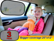 Car Sun Shade (3px) - Baby Sun Shade extra large 50cm x 30cm With UPF 30 as 97% UV blocker & Sun Protection For Car - Static Cling Car Sunshade with. Suction Cup free design Car Window Shade