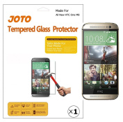 JOTO - All New HTC One M8 Premium Glass Screen Protector Film (Thin/Slim 0.3mm, 9H Hardness, Crystal Clear, Anti-Scratch, Anti-fingerprint, Anti-smudge, Bubble-free Installation) Rounded Edge Tempered Glass Screen Protector Guard for HTC One M8 2014 re ..