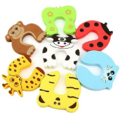 Miraclekoo 7 Pcs Children Safety Animal Foam Door Stopper Cushion Cushiony Finger Pinch Guard Set for Baby, Each Animal