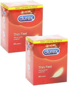 48X Durex Thin Feel Condoms 2X Pack Of 24 - Formerly Fetherlite