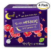 Yejimiin Overnight Sanitary Napkins, Super Long, Mild Herbal Scent, 400mm, 4count, Pack of 4